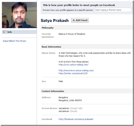 my Facebook public profile